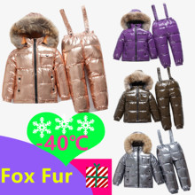 40 rus kış bebek ördek aşağı su geçirmez giyim setleri çocuklar gerçek kürk yaka kapşonlu 2 parça Set kızlar sıcak açık kayak takım elbise