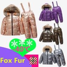 40 russische Winter baby Ente Unten Wasserdichte Kleidung Sets Kinder Echtpelz Kragen Mit Kapuze 2 Stück Set Mädchen Warme outdoor Ski Anzüge