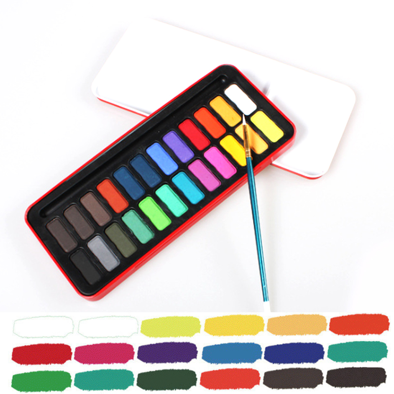 Solid Waterolor Paints Set 12/18/24 Colors Bright Color Portable Outdoor Watercolor Painting Pigment Set for Art Supplies
