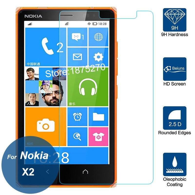 0.26 мм высокой Ясно Взрывозащищенный ЖК-дисплей закаленное Стекло Плёнки для Microsoft Nokia X2 Dual SIM Экран протектор Pelicula де vidro