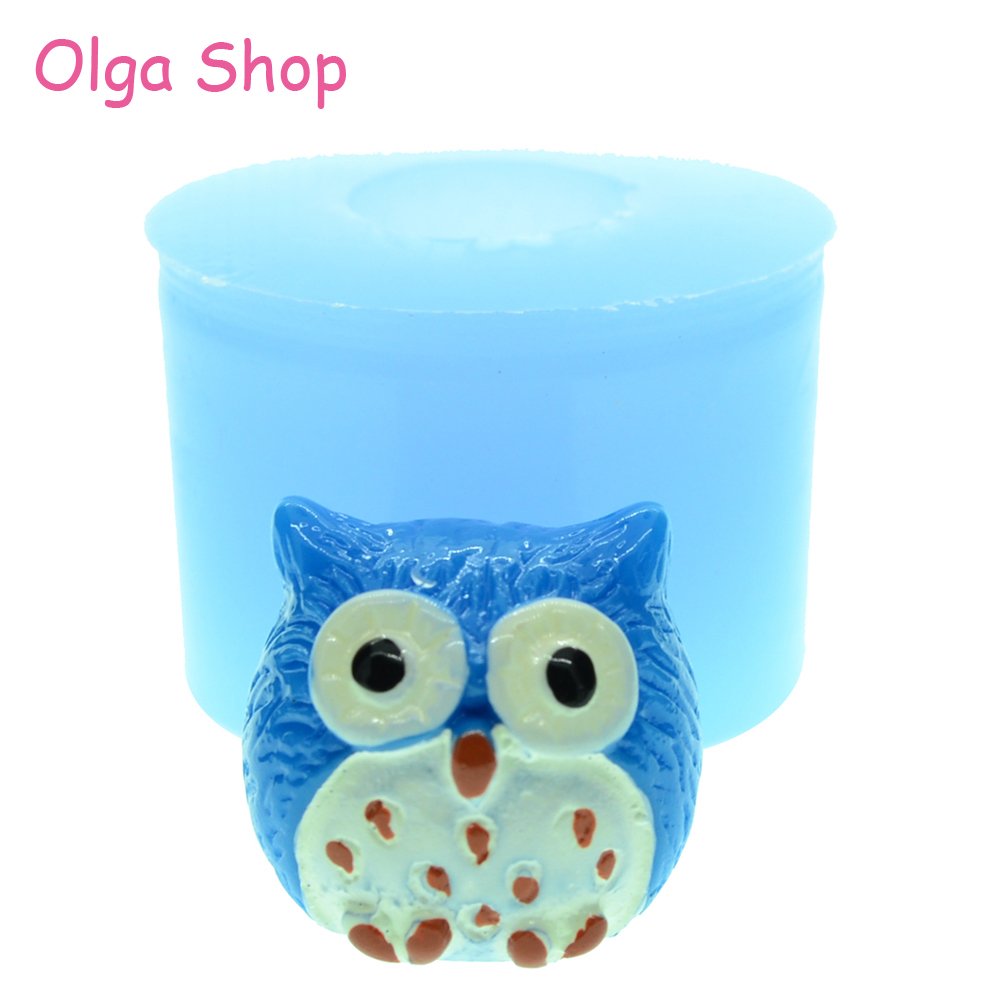 Gentle Dyl319 15.3mm 3d Owl Mold Sugarcraft Resin Polymer Clay Mould Cookie Biscuit Kawaii Animal Silicone Mould Cupcake Topper