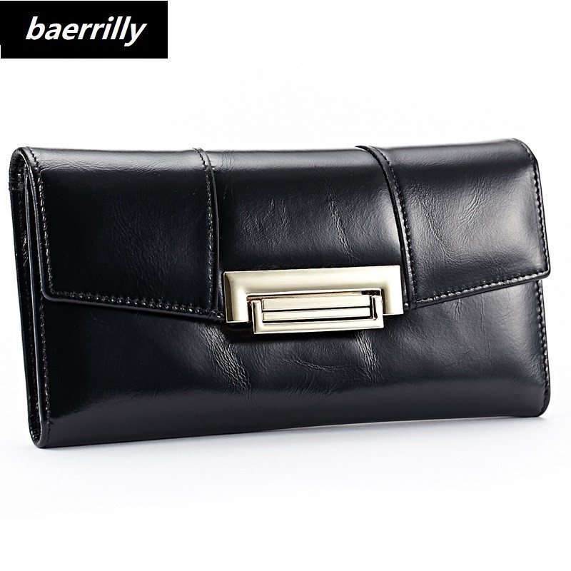 2018 New Women Wallets Oil Wax Genuine Leather High Quality Long Design Day Clutch Cowhide Wallet Fashion Female Card Coin Purse mens wallet genuine leather vintage small wallets brand design high quality unisex oil wax cowhide coin purse credit card holder