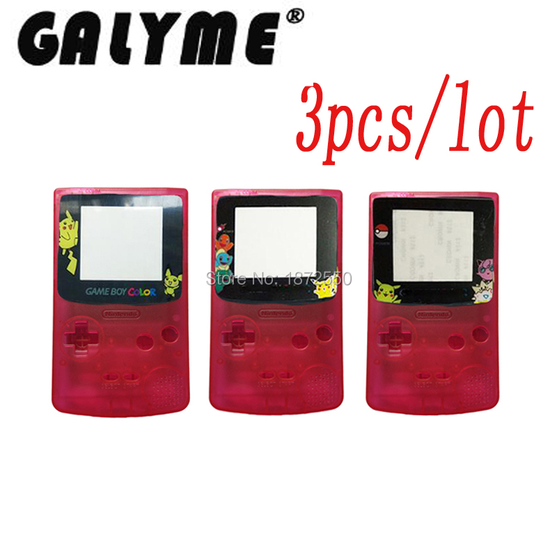 3pcs/lot Hot Cartoon Limited Lens Crystal Pink Housing Case Shell For GameboyColor Shell With Rubber Pads Boy Color Game Console