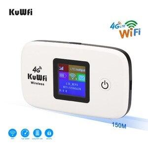 Image 4 - Kuwfi desbloqueado 150mbps 3g 4g lte wifi roteador móvel wifi hotspot 2400mah bateria com slot para cartão sim display lcd até 10 usuários