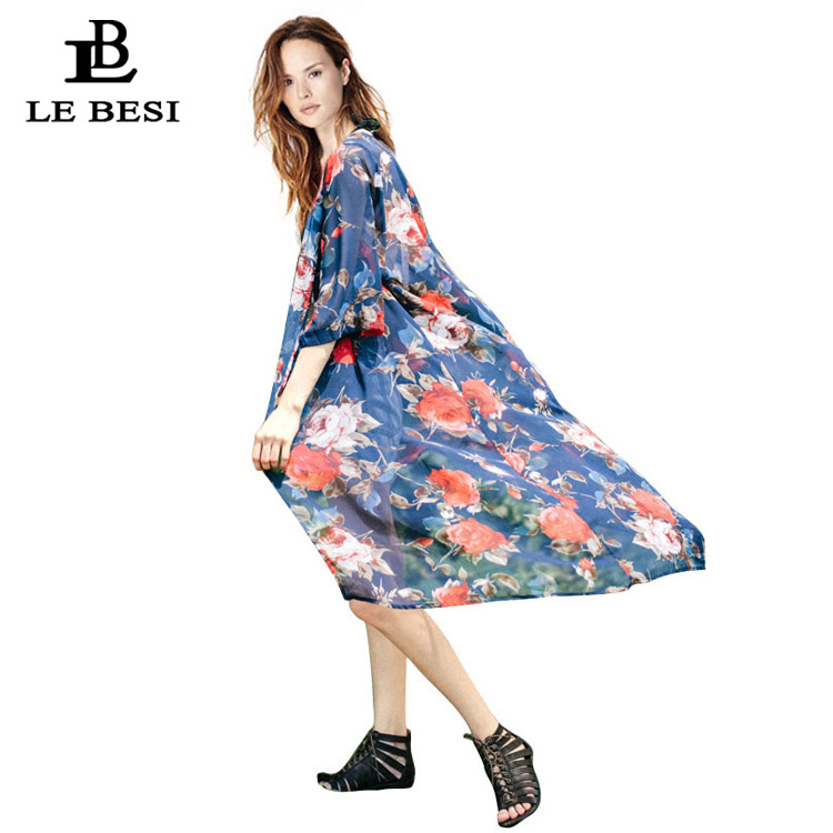 LEBESI 2017 Cover Ups Floral Sexy Swimsuit Cover Women Long Sleeve Wrap Covers Cloak Flower Beach Suit Tropical Chiffon Blouse