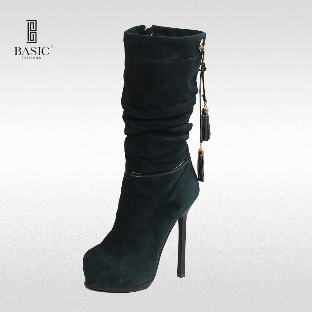 Basic Editions Women Suede Leather Winter High Heel Ankle ...