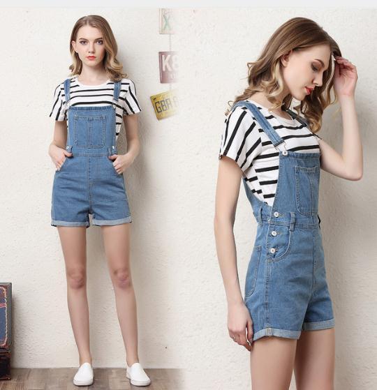 Short Denim Overalls Women Romper High Waist Fashion Jeans Rompers Washed Blue Summer Strap Sling Jeans Overalls J2765