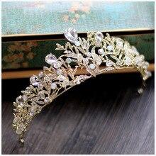Hoja de oro de época nupcial coronas pelo de la boda accesorios de boda nupcial tiaras celada tiara diadema corona