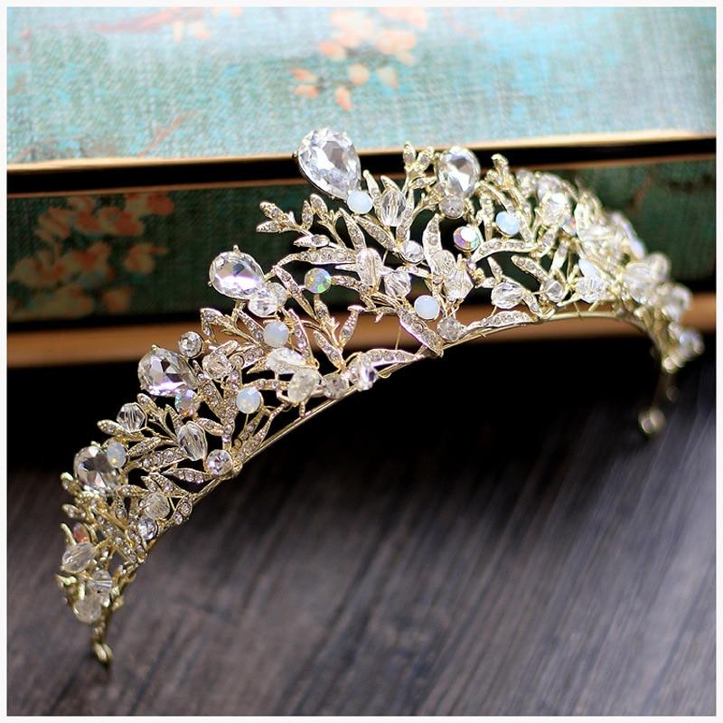 Vintage Gold Leaf Bridal Crowns Wedding Hair Accessories Bridal Headpiece Tiaras Wedding Tiara Diadem Crown