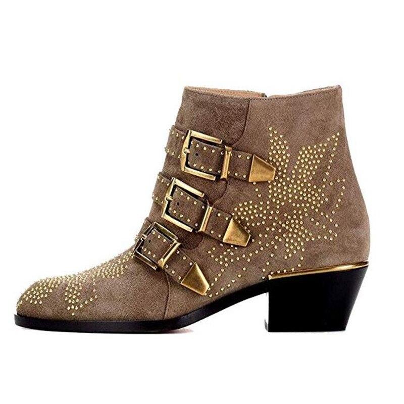 Krazing Pot/ботинки из натуральной кожи; Стильные Теплые ботильоны с круглым носком на среднем каблуке с заклепками и пряжкой в британском стиле;... - 6