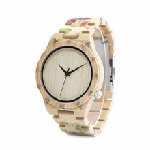 BOBO BIRD WD21 Wooden Watches with Flower Printed Bamboo Band for Men Women in Wood Box OEM