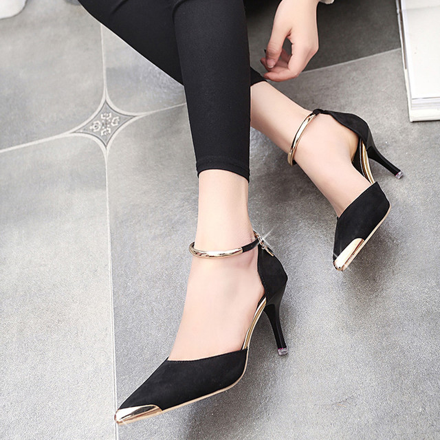194c26f5bda Sexy Women Pointed Toe Buckle Strap High Heels Shoes Hot Sale Sexy Style  Female Shoes Fashion High Quality Work Wedding Shoes