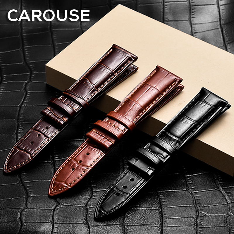 Carouse Calf Genuine Leather Watchband Size 14mm 16mm 18mm 19mm 20mm 21mm 22mm Watch Band Strap For Tissot Seiko Watch Wristband