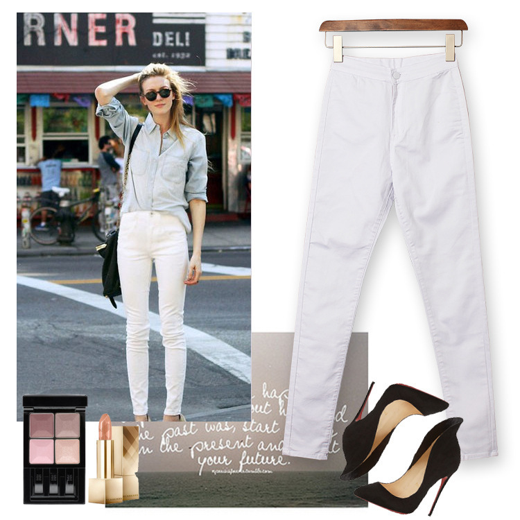 2017 Cotton High Waist White Women Jeans Stretch Slim Skinny Jeans Femme Push Up Sexy American Apparel Plus Size Trousers Women nydj new optic white women s size 8 five pocket seamed slim skinny jeans $110