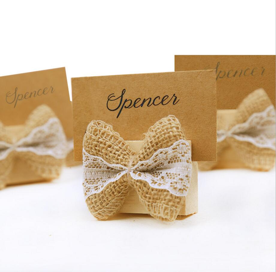 Home & Garden 20pcs Gunny Linen Bow With Wooden Name Number Table Place Card Holder For Wedding Party Anniversary Venue Decoration Lustrous Surface Festive & Party Supplies