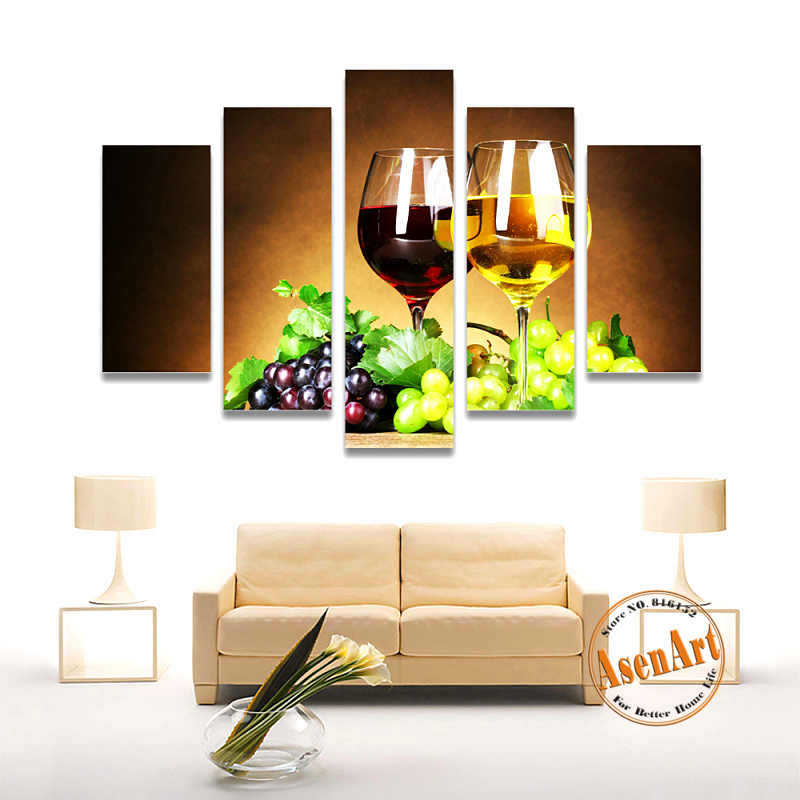 5 panel wall art fruit grape wine glass picture for kitchen living room wall decor canvas prints wall paintings no frame