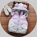 Parkas de Inverno para As Meninas 2017 Rosa Faux Fur Crianças Casaco roupas de Bebê Roupas de Algodão Das Mulheres Para Baixo Casaco Padrão Patchwork Outerwear Criança