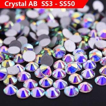 Purpurina diamantes de imitación Cristal AB SS3-SS50 NO CALIENTE fijo plano posterior uñas de strass ab Cristal costura y tela Diamante de imitación
