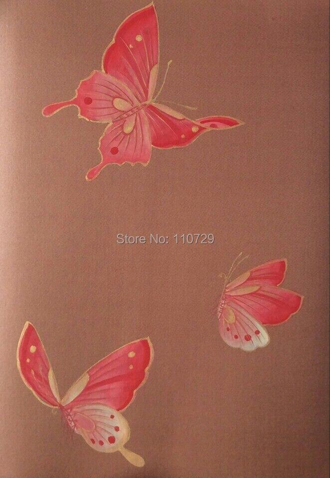 Wallcover Papier Peint peint à la main peinture papier peint de soie papillon soie