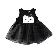 Baby girl dresses summer girls dresses for party and wedding Cartoon Cats Children Princess Dress frocks for baby girl dress free shipping retail korea girl dresses children dress party summer princess baby girl dresses wedding dress birthday gold 6102