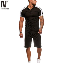 Hot Summer Tracksuit Set Men Beach Wear Casual Harajuku Sportswear Sets Slip Soft Joggings Polo Shirt Suit Sweat Track