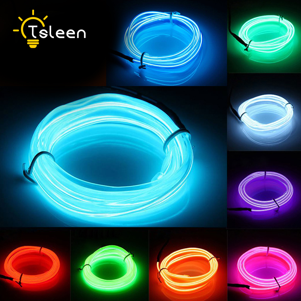 TSLEEN 2M 3M 5M Flexible EL Cable LED Neon Light Tube Glow Strobing Neon LED Lámpara Flexible Cuerda LED Tira con batería