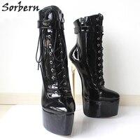 Sorbern Sexy 22 см/8.7 Фетиш на очень высоком ботинки на каблуках женская обувь каблуки 2018 стилет плюс Размеры БДСМ вечерние клуб обувь для подиума