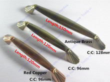 Hole Pitch 96mm/128mm Antique Brass/Red copper Zinc Alloy Kitchen Furniture pulls drawer handle
