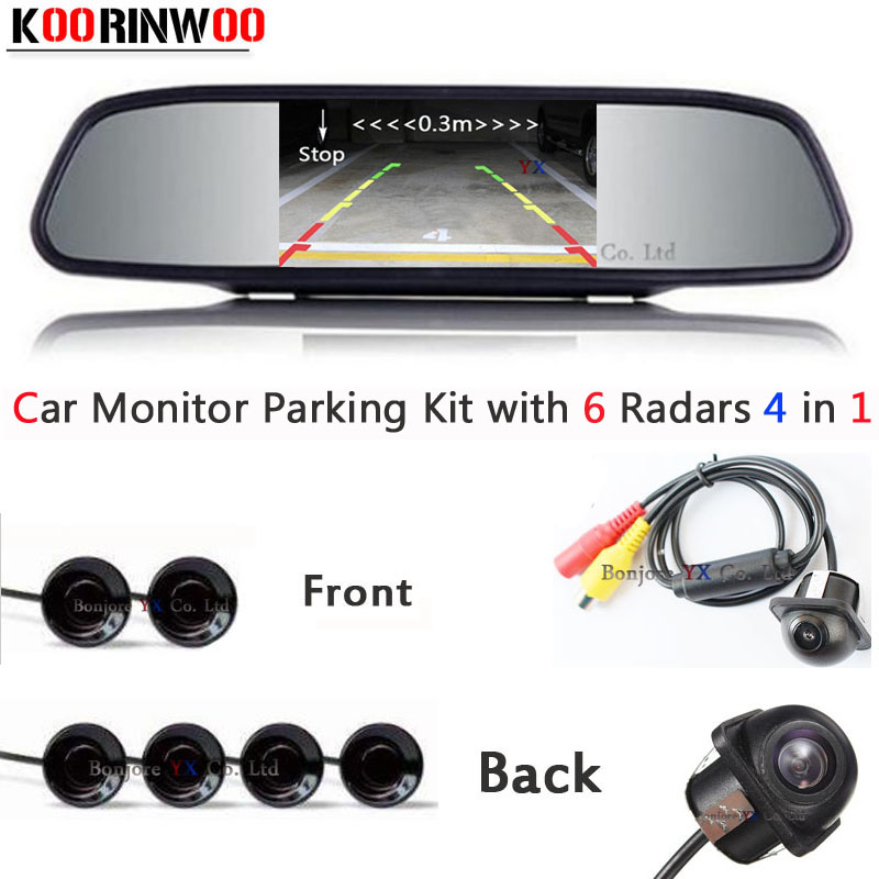Car parking Sensor 6 detector Distance on Monitor Mirror Parktronic System Reverse radar Video backup Image Car Rear view camera new set 4 89341 30010 b5 pdc parking distance sensor reverse assist for toyota