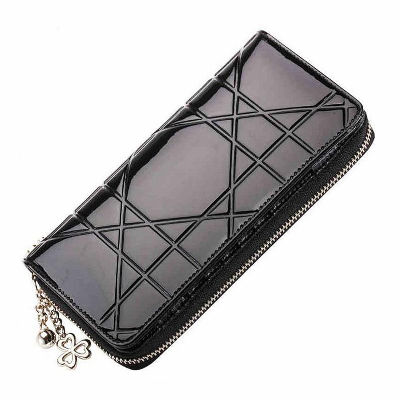 Elegant Plaid Patent Leather Women Wallets Long Purse Candy Color Female Zipper Clutch Brand Design Hasp Pink Black Red da2018