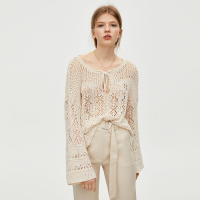 Simple Elegant Beige Hollow Out Knitted Sweater O Neck Lace Up Sexy See Through Knitwear Flare Sleeves Women Pullovers Summer