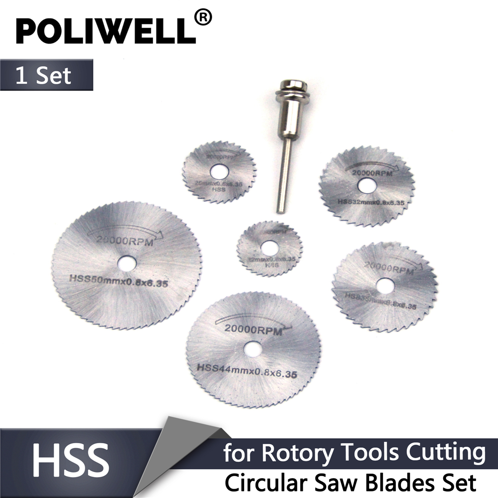 Mini Cutting Disc 6pcs Circular Saw Blades + 1pc 3.2mm Diameter Rod HSS Wood Metal Cut-Off Wheels For Dremel Rotary Power Tools