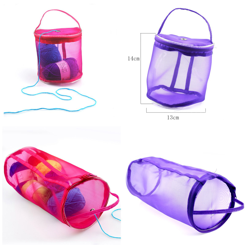 Portable  Wire Mesh Weaving Round Bags  Wool Storage Bag  Yarn Crochet Storage Organizer  Knitting Baskets  Lightweight