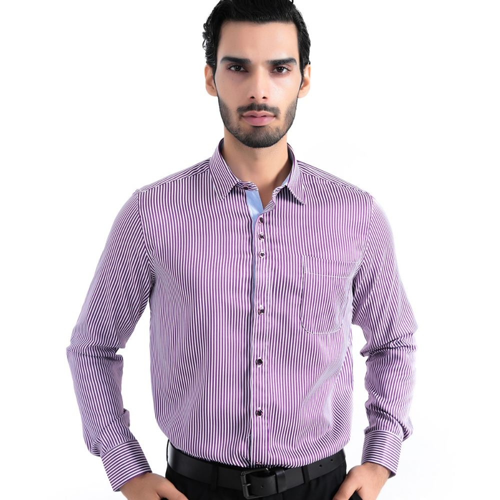 Striped shirt men casual dress long sleeve brand fashion for Mens fitted long sleeve dress shirts
