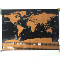 High Quality Scratch Off Map The World Country Flag Map Home Decoration Wall Art Craft Vintage