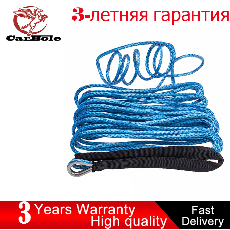 CARBOLE 1/4 x 50 Synthetic Winch Rope Line Cable 8200 LB Capacity ATV UTV W/Sheath 6mm Blue ...
