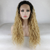 Fantasy Beauty Curly Hair Long Loose Curl Ombre Wig Blonde Natural Water Wave Lace Front Wig Heat Resistant Fiber Wigs