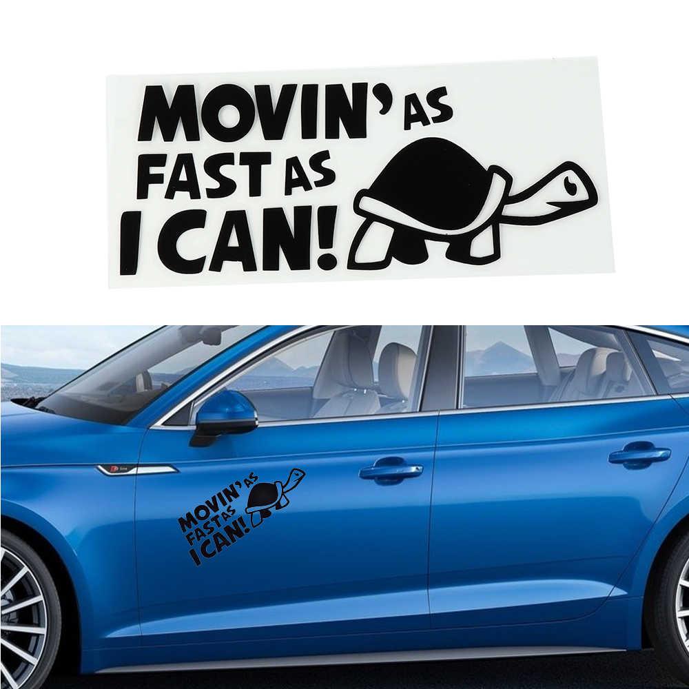 1PC Lucu Bergerak Secepat Yang Aku Bisa Kura Kura Lambat Stiker Kendaraan Bemper Auto Jendela Dekorasi Mobil A Hitam Putih