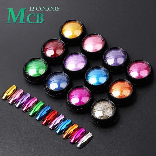 Arte do prego brilho espelho em pó brilhante cromo brilho esfregar pigmento em pó para o design do prego manicure pérola espelho brilho 0.5g nmcb