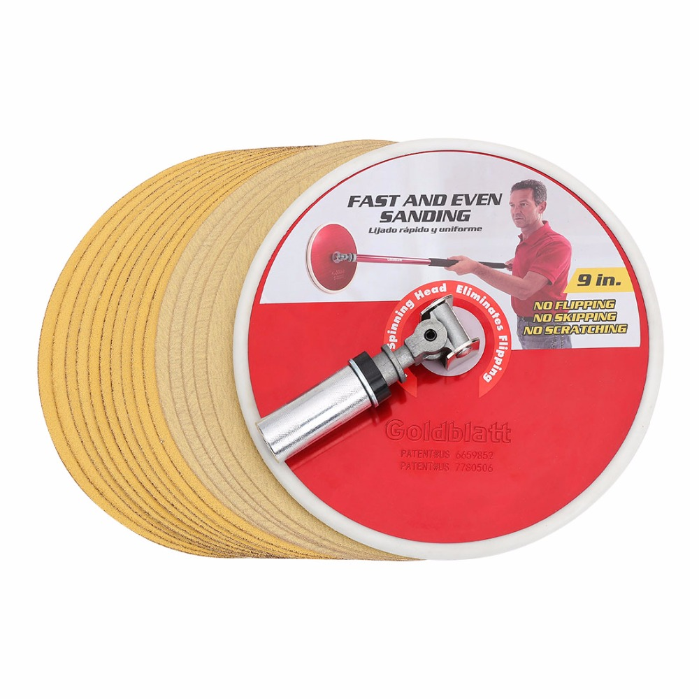 Goldblatt 9-inch Radial Drywall Sander Head And Sanding Disc Set Sanding Paper Abrasive Tools