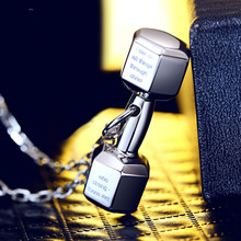 Dumbbell Necklace Male S925 Sterling Silver Fitness Pendant Female Chauvinist Sport Small Couple Clavicle Usa