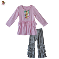CONICE NINI New Design Fall Cotton Girls Clothes Long Sleeve Pink Top Solid Ruffle Pants Child Boutique Outfit Baby Clothes F157