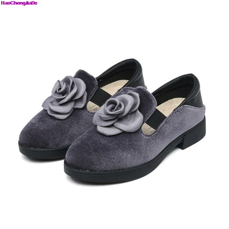HaoChengJiaDe Fashion Girls Leather Shoes Princess Flower Brand Kids Formal Wedding Shoes Children Breathable Casual Sneaker