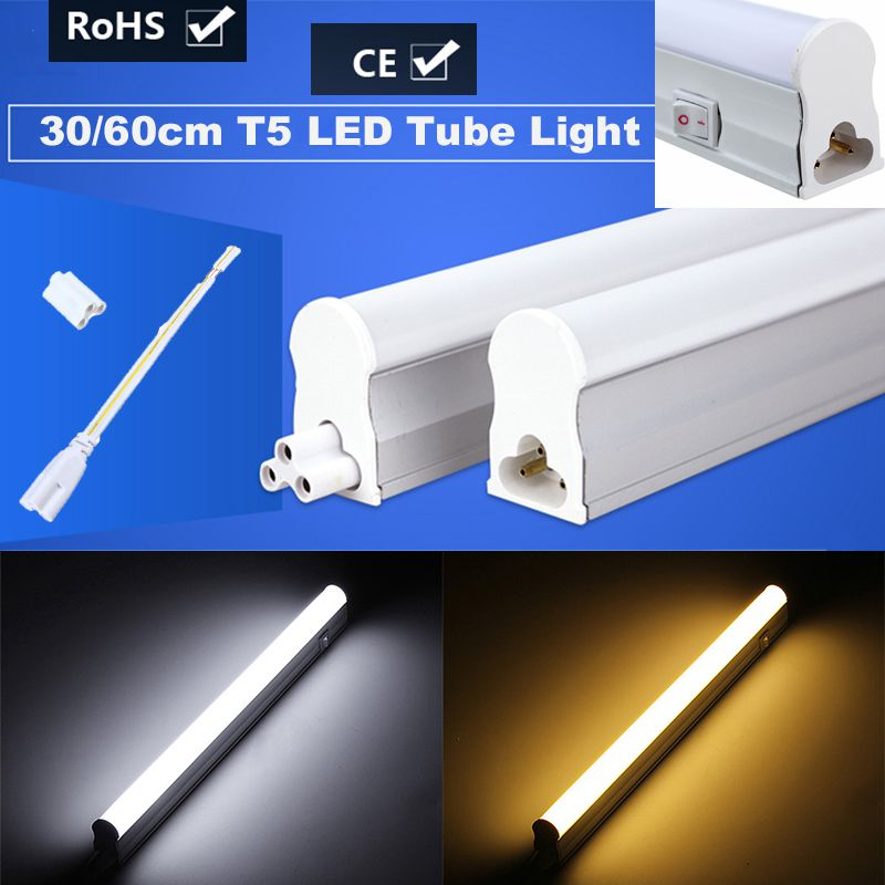 6W 10W T5 LED Light Tube Bulb Bar Light With Switch 2835 SMD 30cm 60cm Fluorescent Tube Lamp Warm Pure White Lighting AC85-265V adriatica a3521 1143qz