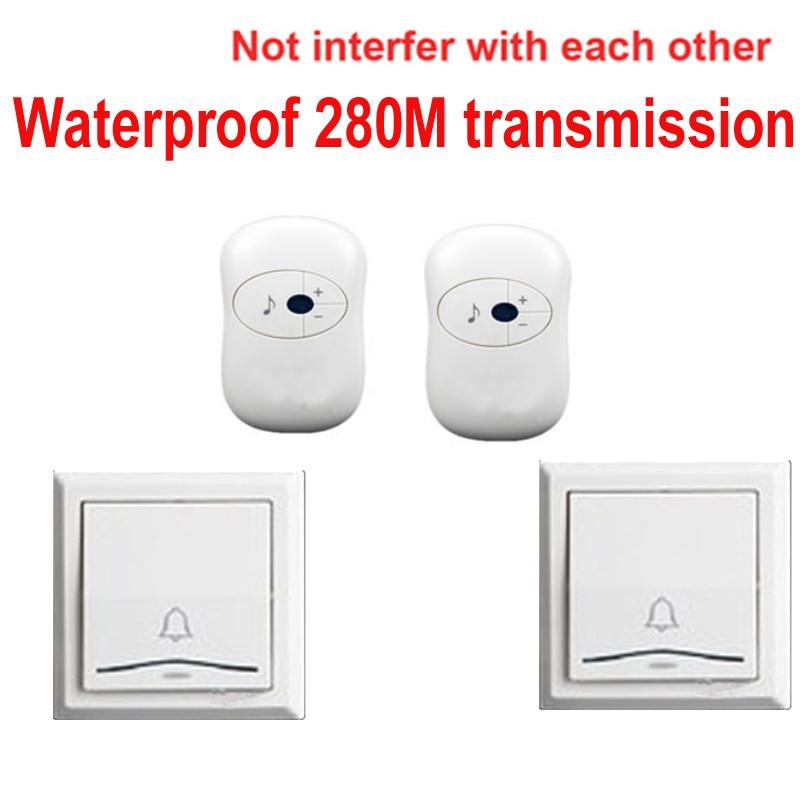2エミッタ+ 2レシーバ呼び鈴ドアリング防水280メートル作業ワイヤレスドアベル、ワイヤレスドアチャイム、ワイヤレスベルドアベル