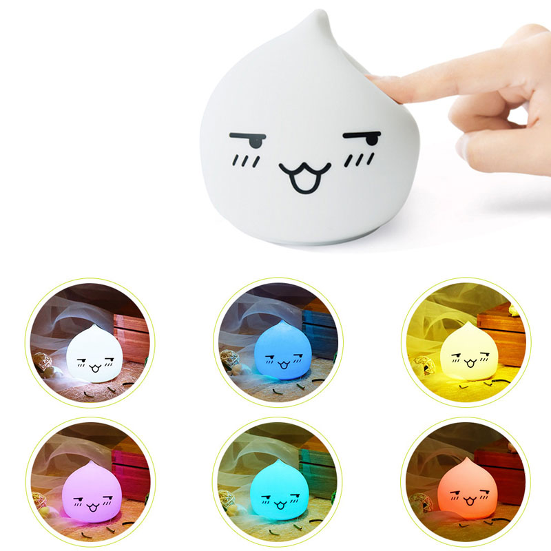 7 Light Colors Changing Waterdrop Silicone Night Lights Bedside Lamp Children Cute Night Lamp Christmas Bedroom Light colorful waterdrop cartoon ombre led night light