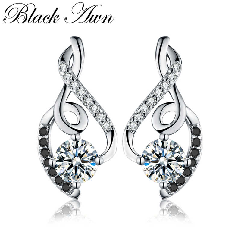 [BLACK AWN] Genuine 925 Sterling Silver Female Earring Fine Jewelry Vintage Wedding Stud Earrings for Women T006