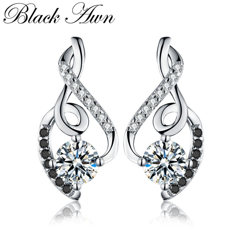 [BLACK AWN] Genuine 925 Sterling Silver Female Earring Fine Jewelry Vintage Wedding Stud Earrings for Women T006[BLACK AWN] Genuine 925 Sterling Silver Female Earring Fine Jewelry Vintage Wedding Stud Earrings for Women T006