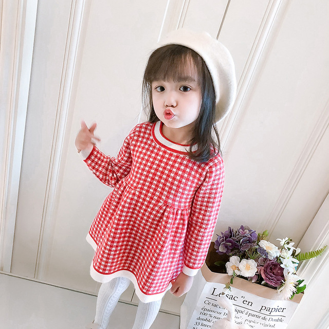 52f811fa49987 children winter Dress for Girls baby underwear dress kids autumn knitted  Clothes thick Dresses teen high quality Christmas Cloth