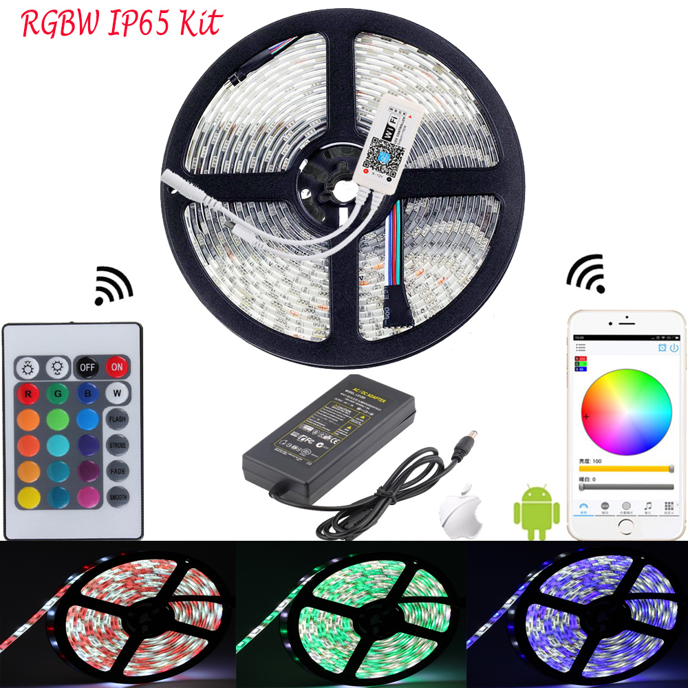 5M 5050 RGB WIFI LED Strip Waterproof RGBW RGBWW Diode Tape 24Key Remote WIFI Wireless Controller 12V DC 5A LED Adpater Full Kit